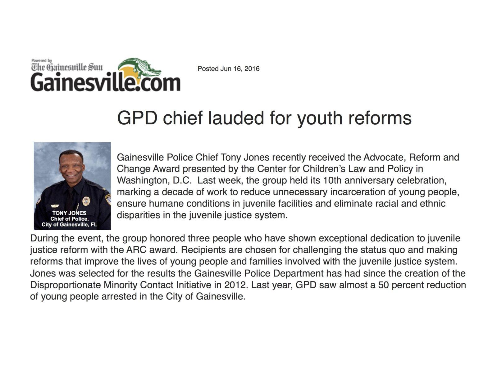 Gainesville News Chief Tony Jones
